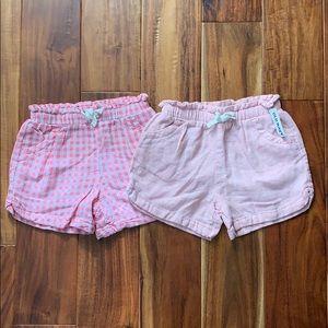 Pink/Pink Gingham Linen Blend Shorts - 5T